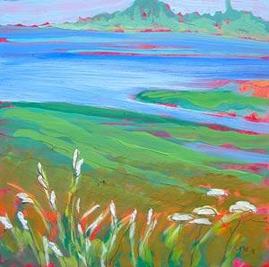 © Pam Van Londen 2010, Estuary 1, oil on claybord, 8x8