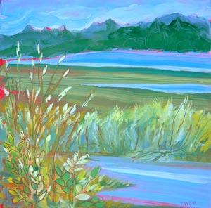 © Pam Van Londen 2010, Estuary 2, oil on claybord, 8x8
