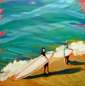 © Pam Van Londen 2010, Heidrich Girls Surfing, oil on claybord, 8x8