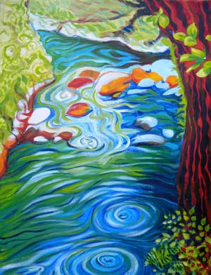 © Pam Van Londen 2010, Columbia Gorge Lower Oneonta River, oil on gallery edged canvas, 18x24