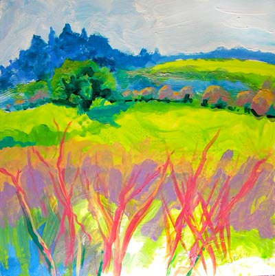 © Pam Van Londen 2010, Frazier Wetland 1, Acrylic on Clayboard, 8x8