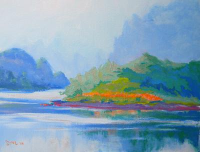 © Pam Van Londen 2010, Klamath River 4, acrylic on claybord, 12x9