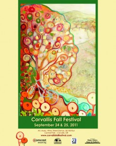 Fall Festival Poster with art by Jennifer Lommers.