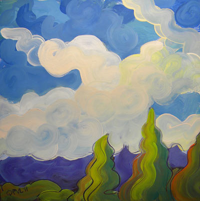 © Pam Van Londen 2010, Clouds 5, oil on claybord, 8x8