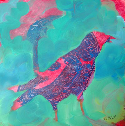 © Pam Van Londen 2010, Crow Upcycled 5, oil on claybord, 8x8