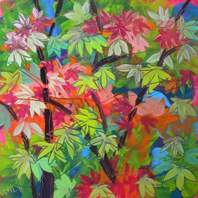 © Pam Van Londen 2010, Fall Maple Leaves 1, oil on 8x8-inch archival Claybord panel. Unframed.