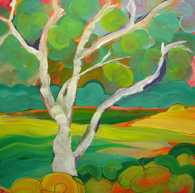 © Pam Van Londen 2010, Park Trees 4, oil on claybord, 8x8