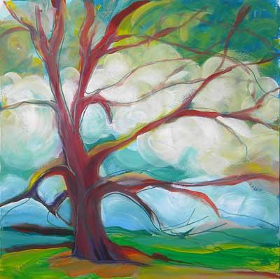 © Pam Van Londen 2010, Park Trees 5, oil on claybord, 8x8