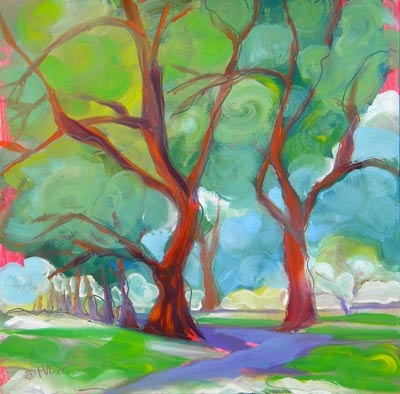 © Pam Van Londen 2010, Park Trees 6, oil on claybord, 8x8