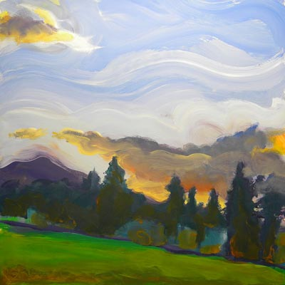 © Pam Van Londen 2010, Valley Storm 5, oil on claybord, 8x8