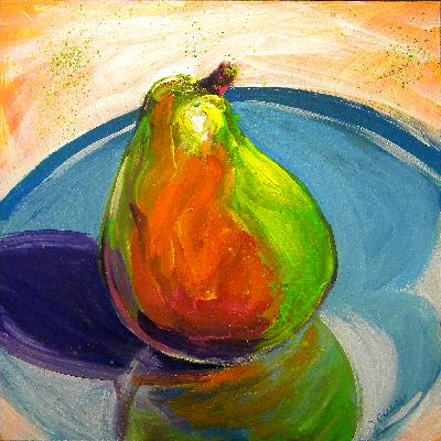 © Pam Van Londen 2010, Pear 1, Acrylic on Clayboard, 8x8