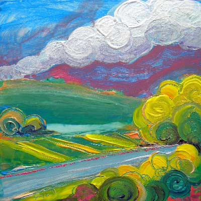 © Pam Van Londen 2010, Valley Morning 11, Acrylic on Clayboard, 8x8