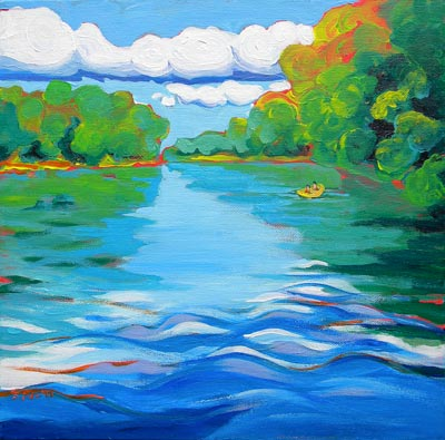 © Pam Van Londen 2010, Willamette River 28, acrylic on gallery-edged canvas, 12x12
