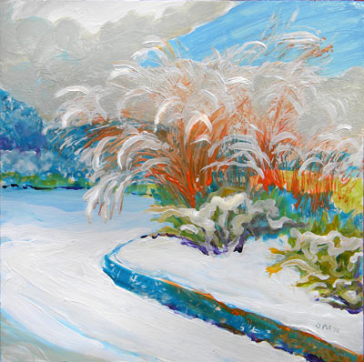 © Pam Van Londen 2010, 18th Street Snow 3, acrylic on Claybord, 8x8