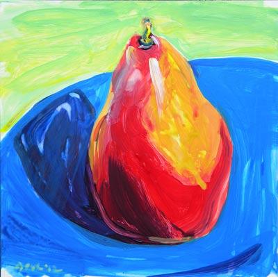 © Pam Van Londen 2010, Pear 3, Acrylic on Clayboard, 8x8