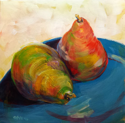 © Pam Van Londen 2010, Pears 2, Acrylic on Clayboard, 8x8, unframed