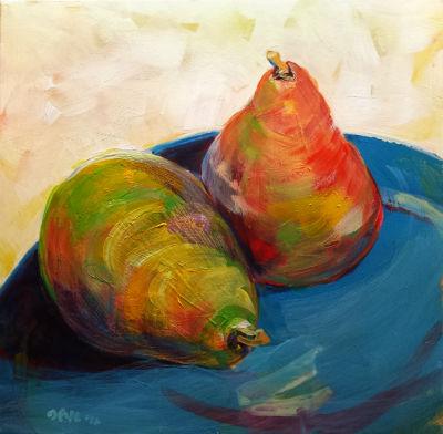 © Pam Van Londen 2010, Pears 2, Acrylic on Clayboard, 8x8, unframed