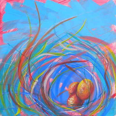 © Pam Van Londen 2010, Nest of Prosperity 11, oil on claybord, 8x8
