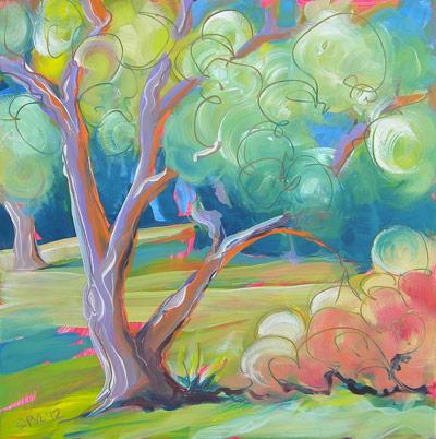 © Pam Van Londen 2010, Park Trees 7, oil on claybord, 8x8