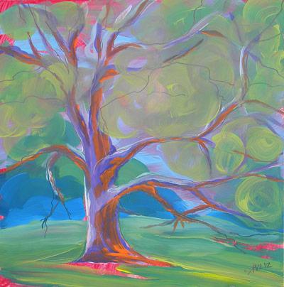 © Pam Van Londen 2010, Park Trees 8, oil on claybord, 8x8