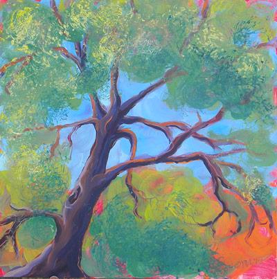 © Pam Van Londen 2010, Park Trees 9, oil on claybord, 8x8