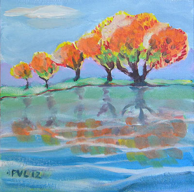 © Pam Van Londen 2009, Fall Reflection, 8x8x1 on acrylic on canvasboard