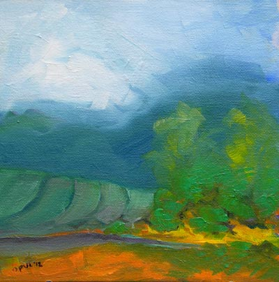 © Pam Van Londen 2010, Valley Morning 12, oil on 8x8-inch canvas panel, unframed