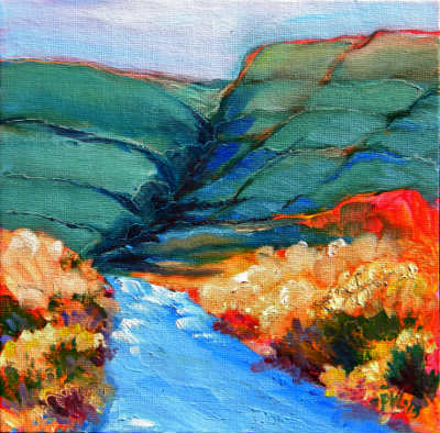 Canyon Dreams 32. Oil on 8x8-inch canvas panel; unframed.  © Pam Van Londen 2013.