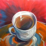 Hot Cafe on Shiny Gift Bag © Pam Van Londen 2013. Oil on 8x8-inch claybord.