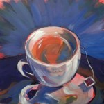 Hot Tea on Shiny Gift Bag. © Pam Van Londen 2013. Oil on 8x8-inch claybord.