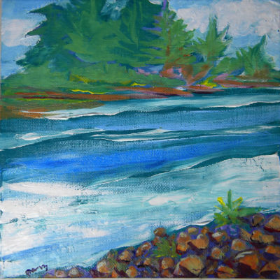 Willamette River 30, acrylic on 8x8-inch panel, unframed