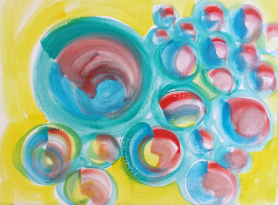 © 2013 Pam Van Londen. Ball Bearings 4. 12x9-inch watercolor on archival paper. Comes unframed.