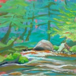 Sandy River 1. Plein air oil on 8x8-inch Claybord panel.