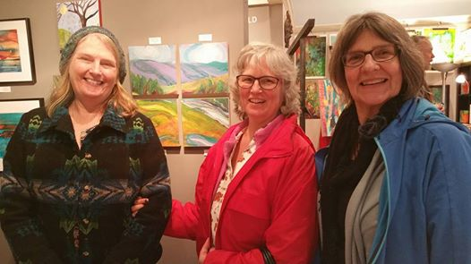 The Valley Morning polyptych at Studio262 Gallery during  Corvallis Art Walk, Feb 18. Pam Van Londen with Holly Short and Courtney Lazenby.